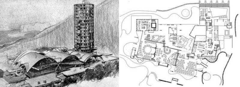 Planta y bocetos originales del conjunto arquitectónico