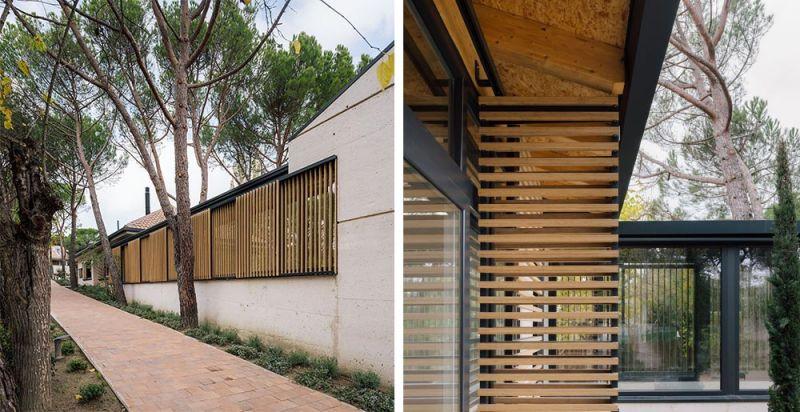 arquitectura casa oma fotografia exterior detalle alzado lamas madera