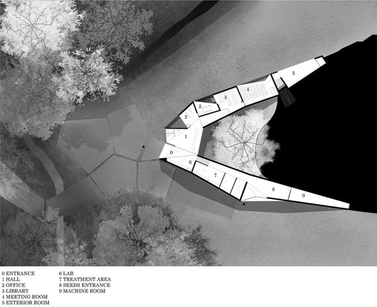 arquitectura centro de biodiversidad agricola loja plano distribucion