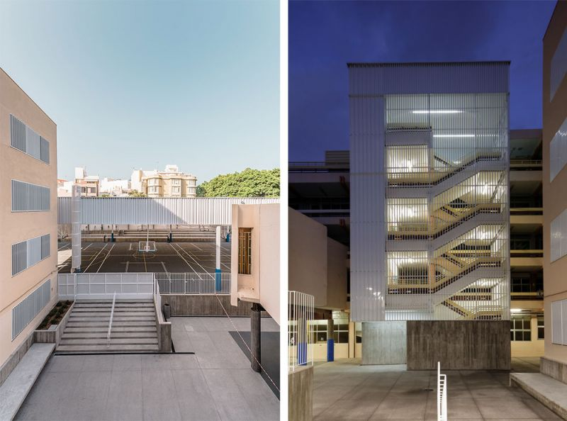 arquitectura equipo olivares cubierta ligera colegio hispano ingles alzado escaleras piel metalica