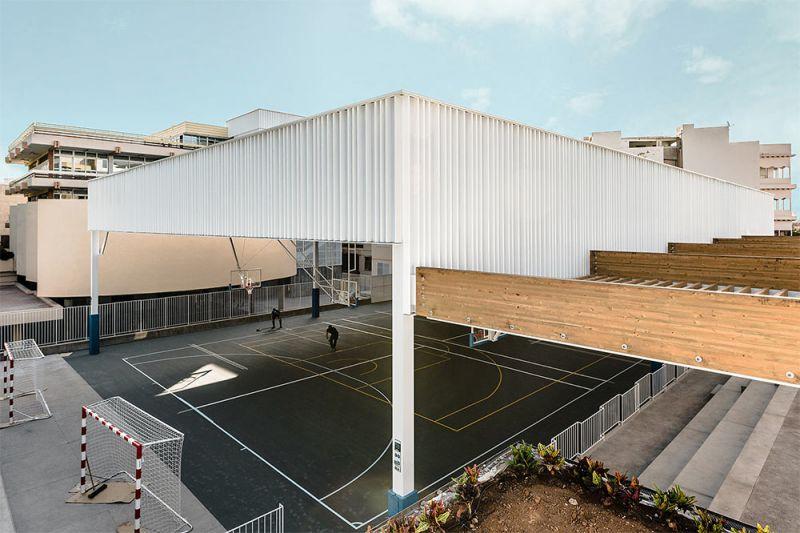 arquitectura equipo olivares cubierta ligera colegio hispano ingles foto detalle cubierta vigas madera