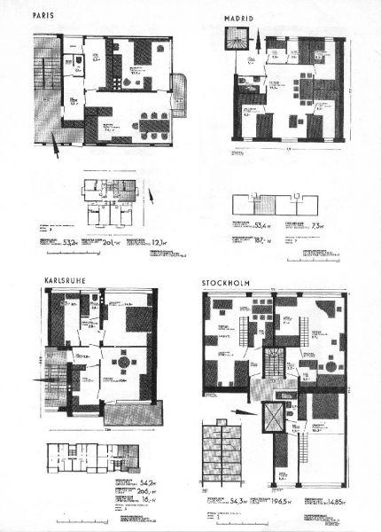 FIG. 2: La vivienda para el mínimo nivel de vida. CIAM (Frankfurt, 1929): Tipos de viviendas racionales mínimas en París, Madrid, Karlsruhe y Stockholm.