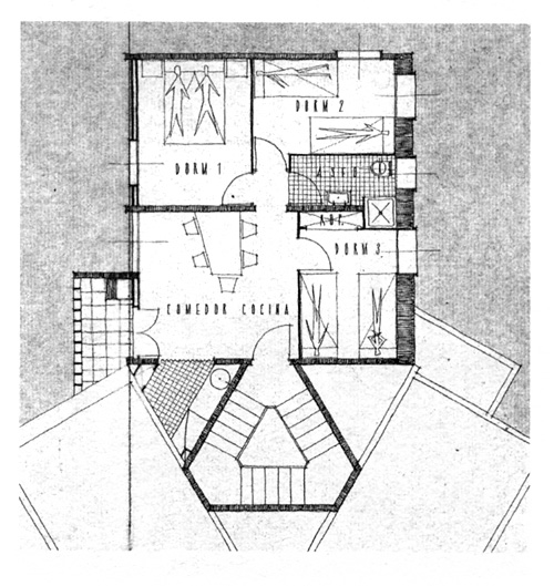 FIG. 3: Francisco Muñoz,  Mil viviendas. Vivienda tipo (Alacant, 1959)