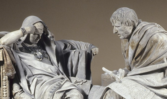 """Escultura de Eduardo Barrón, """"Sobre la vida feliz"""" Seneca y Nerón"""
