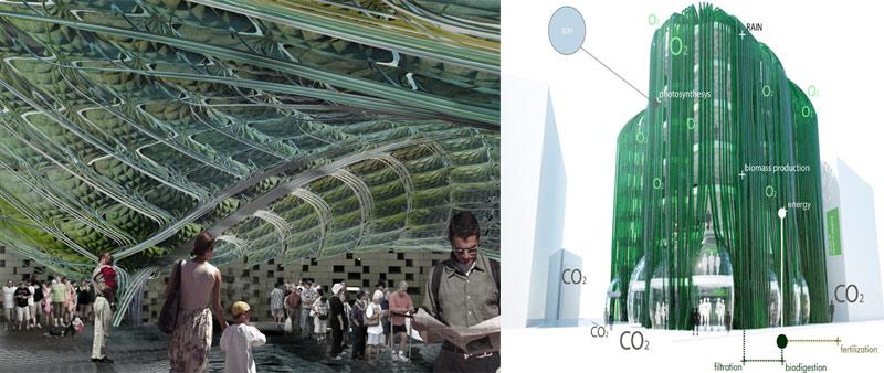 arquitectura, sostenibilidad, EcoLogicStudio, Urban Algae Canopy, alga spirulina, ecológico, expo milano 2015