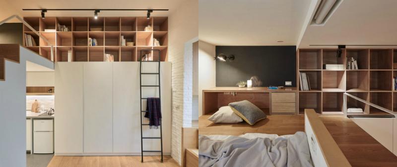 arquitectura, arquitecto, direño, design, interior, interiorismo, A Little Design, Taiwan, Taipei, micro vivienda, apartamento, mini, tiny home, pequeño, casa, blanco, madera, altillo
