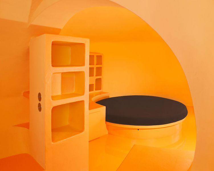Maison Bernard de Antti Lovag arquitectura orgánica fotografia interior estar