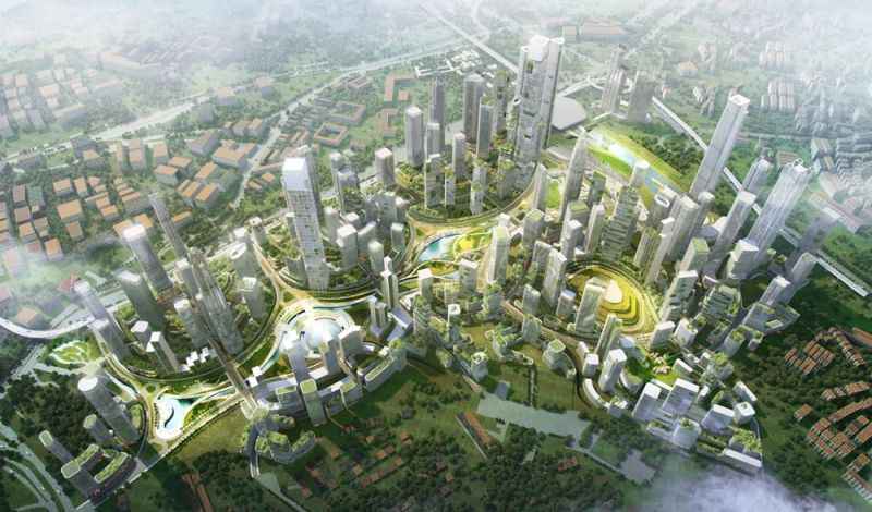 arquitectura bandar malasya eftalia proios render aereo centro urbano