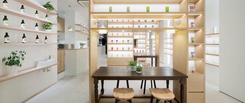 arquitectura, diseño, interiorismo, nendo, beauty library, cosmética orgánica