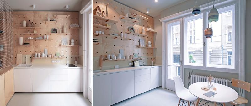 arquitectura, arquitecto, diseño, design, interior, interiorismo, madera, contrachapado, dm, minimalista, sencillo, tiny house, pequeño, Position Collective, Budapest, apartamento, vivienda, estudio, mini