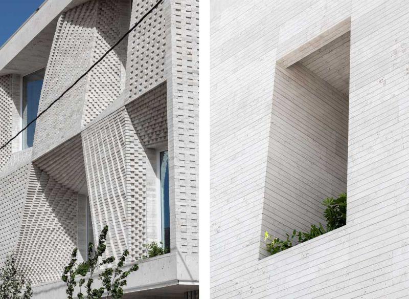 arquitectura CAAT Studio Proyecto Mahallat travertino fotografía Parham Taghioff exterior ventanas