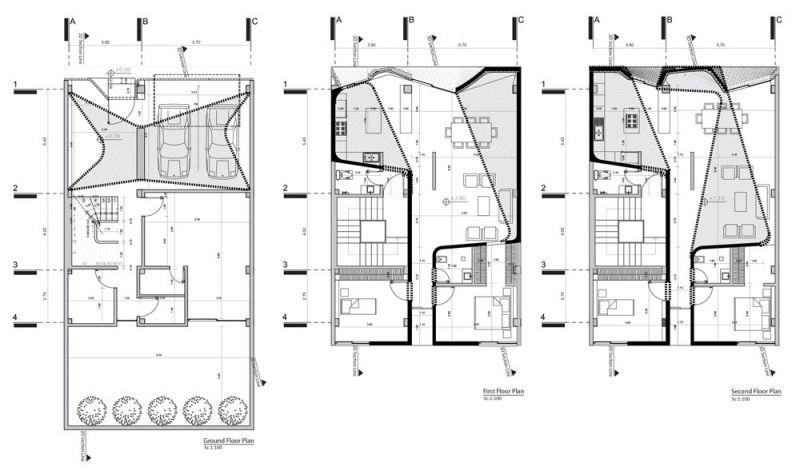 arquitectura CAAT Studio Proyecto Mahallat travertino plantas