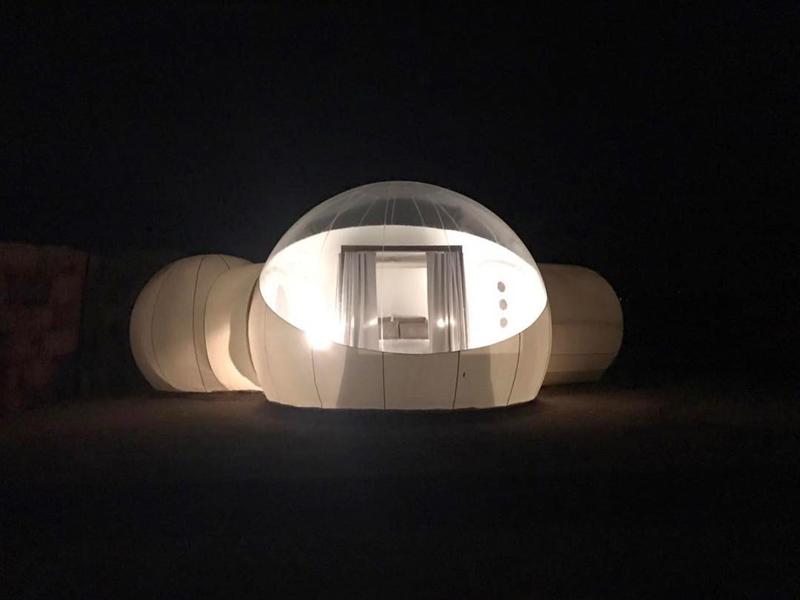 Arquitectura _ Campera Hotel_valle de Guadalupe_vista nocturna iluminada