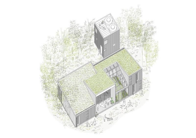 Arquitectura_Casa_AA _ vista exterior  axonometria