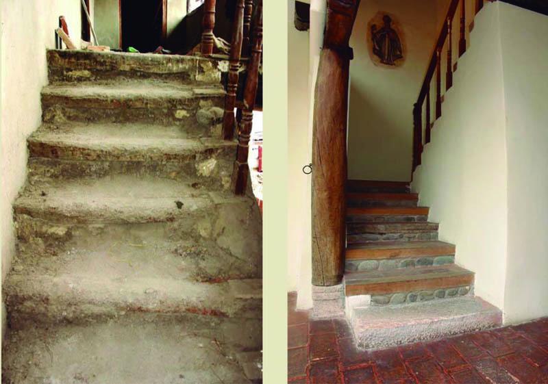 Arquitectura_ casa de las posadas _ acceso escalera antes y despues