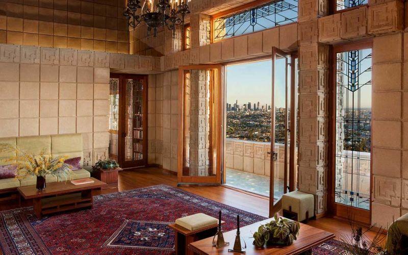 arquitectura casa ennis brown frank lloyd wright fotografia salon vistas panoramicas