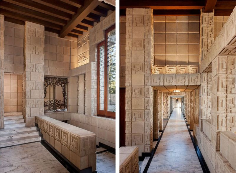 arquitectura casa ennis brown frank lloyd wright fotografia detalles pasillos