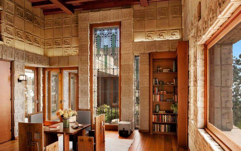 arquitectura casa ennis brown frank lloyd wright fotografia interior