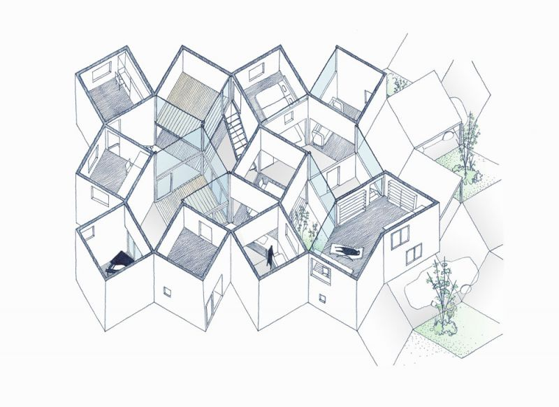 arquitectura Tato Architects Casa en Hokusetsu axonometria