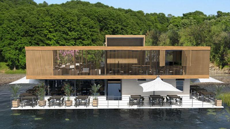 arquitectura_Catamaran-Apartmen_FloatingHotel_vista de las zoans de muelle