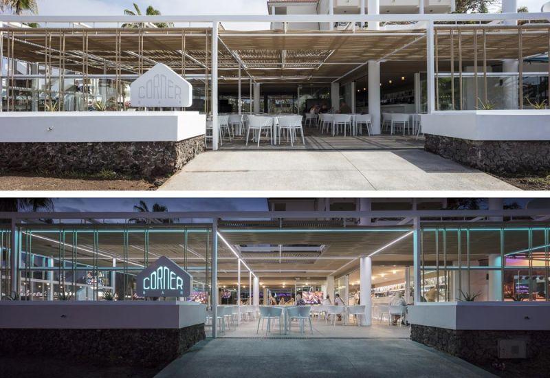 arquitectura equipo olivares corner bar vista exterior acceso dia y noche