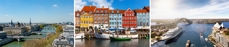 imágenes de Paris, Copenhague y Sidney