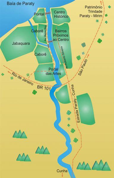 Arquitectura colonial_Paraty_Brasil mapa de las zonas