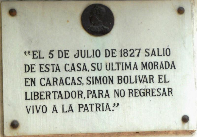 Arquitectura placa conmemorativa a simon bolivar