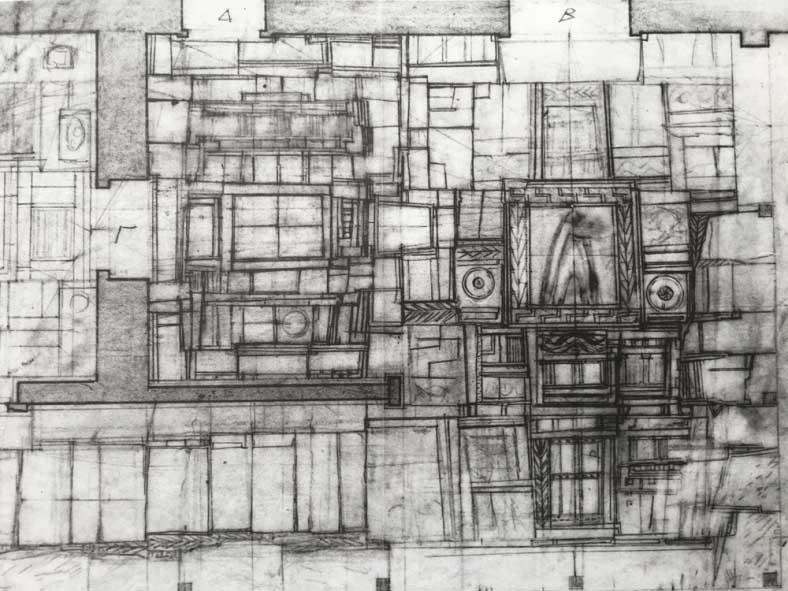 Dibujo de proyecto del pavimento de la Iglesia St. Dimitrios Loumbardiaris de Pikionis. Imagen: Benaki Museum