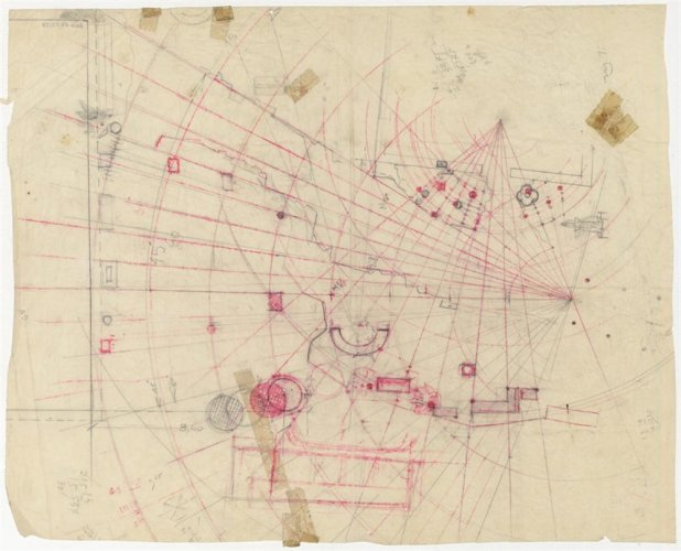 Estudio geométrico-axial para la disposición de distintos elementos, Dimitris Pikionis. Imagen: Benaki Museum