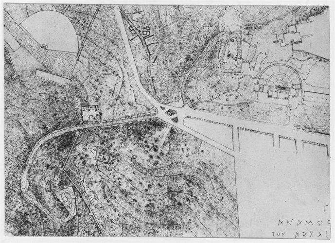 Dibujo del área entorno a la Acrópolis y el monumento a Filopapos, 1954. Imagen: Benaki Museum
