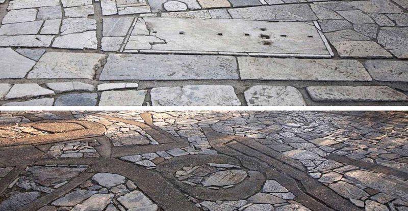 Comparación entre el camino hacia la Acrópolis y el camino hacia Filopapos. Imágenes: Mayte Piera