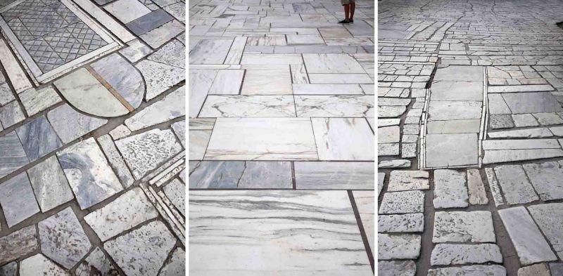 Detalle del pavimento del camino hacia la Acrópolis. Imágenes: Mayte Piera