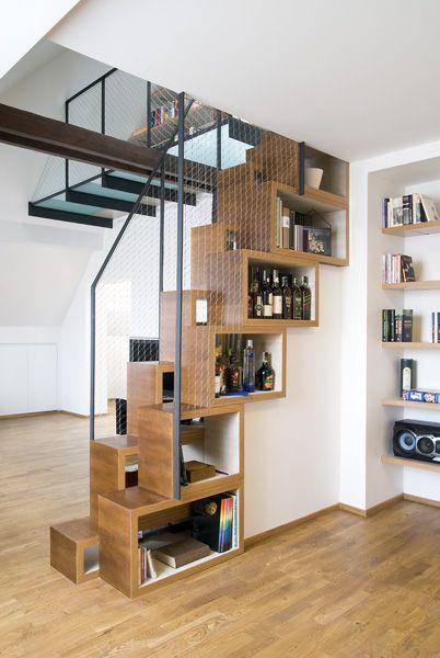 arquitectura_diseño_escaleras de madera_Bookshelves staircase
