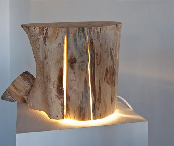 Arquitectura e iluminación_Duncan Meerding_Cracked Log Lamp