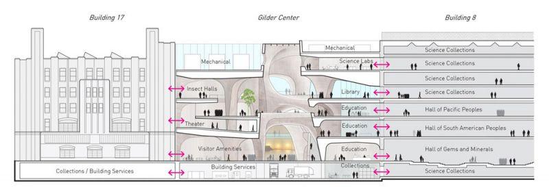 arquitectura Centro Richard Gilder para Ciencia, Educación e Innovación  Manhattan, Nueva York, Estados Unidos Studio Gang seccion