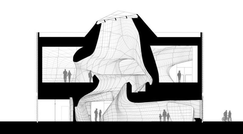 arquitectura Museo de Louisiana y Salón de la Fama del Deporte LA, Estados Unidos Trahan Architects seccion