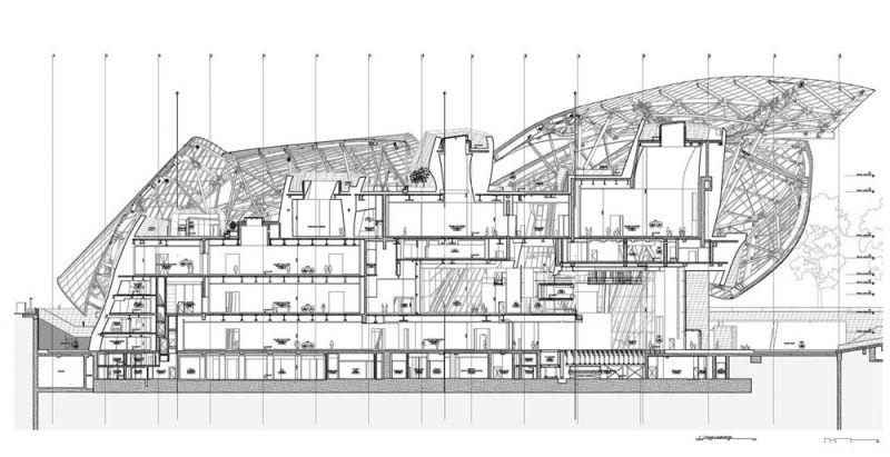 arquitectura Fundación Louis Vuitton  París, Francia Gehry Partners seccion
