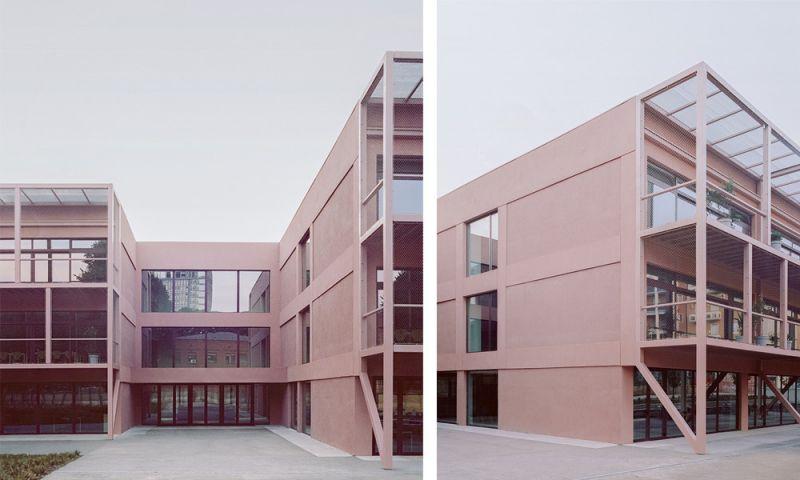 Imagen de la entrada del edificio y de la nueva piel del edificio