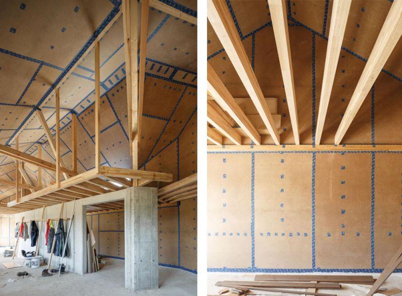 arquitectura entrevista arrokabe arquitectos casa cachons passivhaus fase construccion interior vigas madera