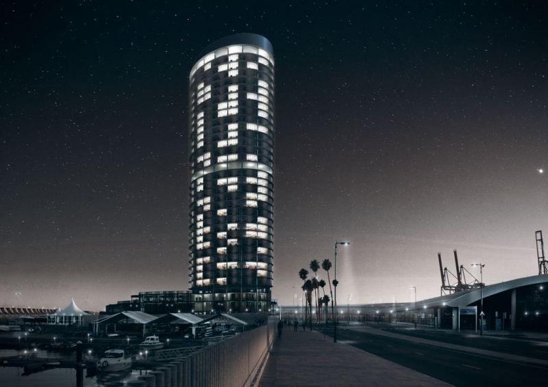 La torre del puerto de Málaga Seguí Arquitectura imagen de noche