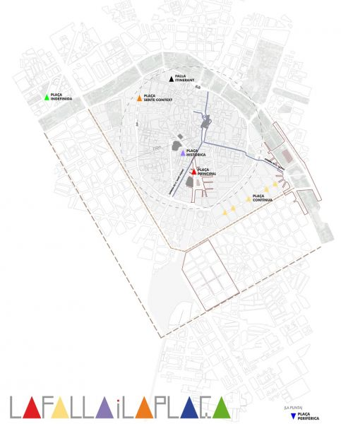 arquitectura la falla i la plaça CTAV plano ubicación fallas Valencia