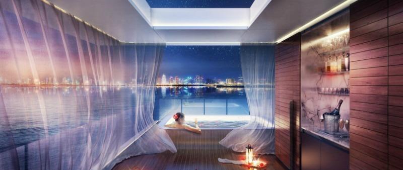 arquitectura, arquitecto, diseño, design, Emiratos Árabes, Dubai, Kleindienst Group, Floating Seahorse, vivienda flotante, costa
