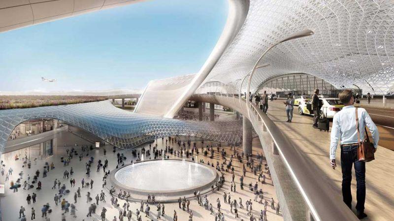 arquitectura foster + partners fr-ee naco nuevo aeropuerto internacional ciudad de mexico naicm render interior