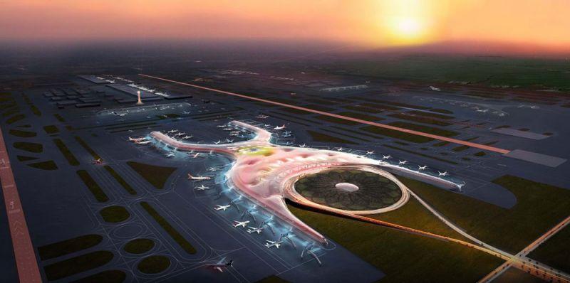 arquitectura foster + partners fr-ee naco nuevo aeropuerto internacional ciudad de mexico naicm render  aereo