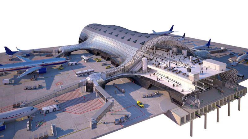 arquitectura foster + partners fr-ee naco nuevo aeropuerto internacional ciudad de mexico naicm render seccion