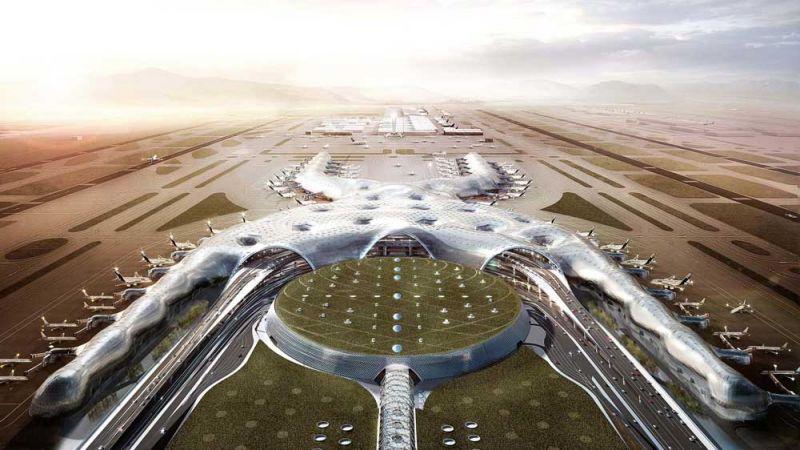arquitectura foster + partners fr-ee naco nuevo aeropuerto internacional ciudad de mexico naicm render exterior