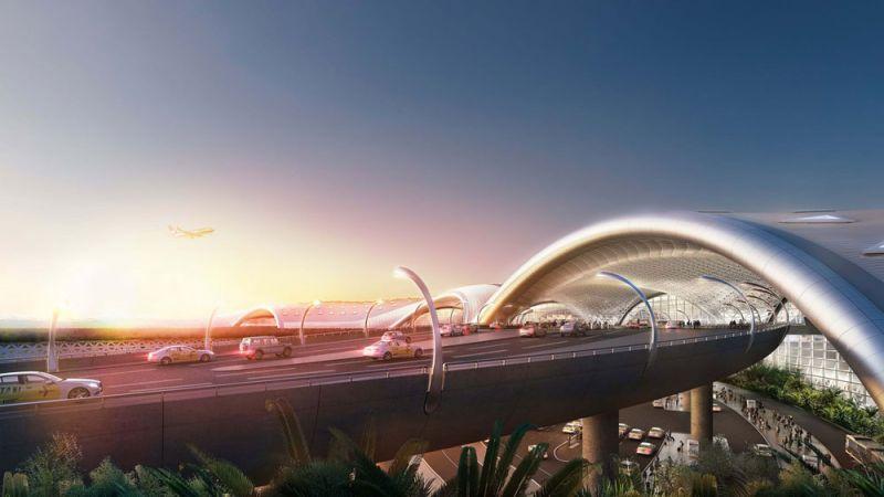 arquitectura foster + partners fr-ee naco nuevo aeropuerto internacional ciudad de mexico naicm render acceso rodado