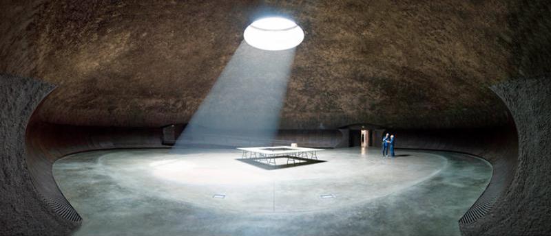 arquitectura fortaleza Sant Julia de Ramis de Fuses Viader Arquitectes fotografía sala subterranea