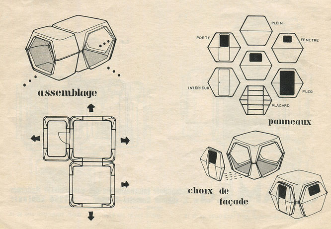 HEXACUBE Georges Candilis y Anja Blomstedt arquitectura futurista modular 70 folleto II